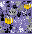seamless background with gift box and nature vector image