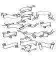 scroll sketch vintage swirl ribbons set vector image