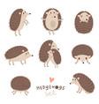 set of cute hedgehogs vector image