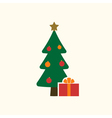 Christmas tree gifts flat isolated vector image