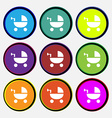 Baby Stroller icon sign Nine multi colored round vector image