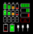 battery indicator icons and charger connector vector image vector image