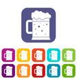 beer mug icons set flat vector image vector image