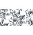 black and white floral seamless pattern of vector image vector image