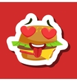Burger Sandwich In Love With Hearts In Eyes Cute vector image vector image