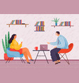 business partners sits at round table woman with vector image vector image
