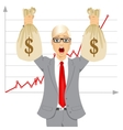 businessman holding two big dollar money bags vector image vector image