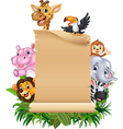 Cartoon funny wild animal africa with blank sign vector image vector image