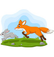 cartoon rabbit chased fox in forest vector image vector image