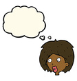 cartoon woman looking with thought bubble vector image vector image