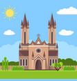church icon flat summer landscape vector image vector image