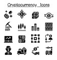 cryptocurrency icons set vector image vector image