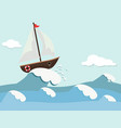 cute background of boat and waves vector image