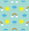 cute cartoon sun cloud with rain rainbow set baby vector image vector image