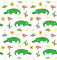 cute crocodile or alligator with little bird vector image vector image