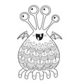 doodle halloween coloring book page cute monster vector image vector image