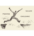 Drawn man jumping over the gap sketch vector image vector image