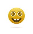 emoticon with dollar coin vector image vector image