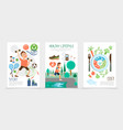 flat healthy lifestyle brochures vector image