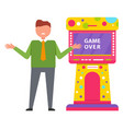 game over retro arcade game machine image vector image