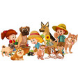 group children with their dogs vector image vector image