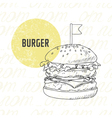 hand drawn burger in black and white vector image