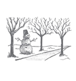 Hand drawn Halloween snowman made of pumpkins vector image vector image