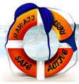 lifebuoy with hawaii signature and swimsuit vector image