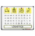 Logistic hand drawing line icons vector image vector image