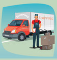 man with hand truck trolley and box truck vector image vector image