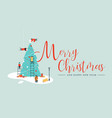 merry christmas card of people making xmas tree vector image