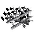 monochromatic cartoon fighter plane twin vector image vector image