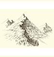 mountain ridge hand drawing alpine panorama vector image vector image