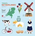 Netherland Flat Icons Design Travel Concept vector image vector image
