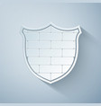 paper cut shield with cyber security brick wall vector image vector image