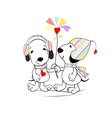 Puppies with flower vector image vector image