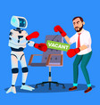 robot boxing with businessman for vacant place at vector image vector image