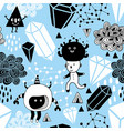seamless background with cartoon doodle characters vector image