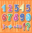 set of cute sticker with cartoon coloured numbers vector image