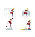 set of superwomen female sucsess vector image