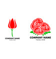 set red rose logo template vector image vector image