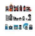 Silhouettes of buildings from natural disasters vector image vector image