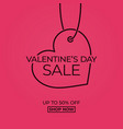 valentines day sale linear tag heart on red vector image vector image
