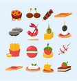 various meat fish cheese banquet snacks on banquet vector image vector image