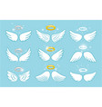 wings and nimbus angel winged glory halo cute vector image vector image