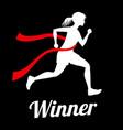 winner female runner crossing finish line sports vector image vector image