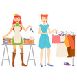 woman shopping clothes store and books sale set vector image vector image