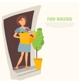Woman Volunteer with food donation and clothes vector image