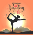 world yoga day sunset vector image vector image