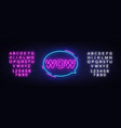 wow neon text wow pop art neon sign vector image vector image